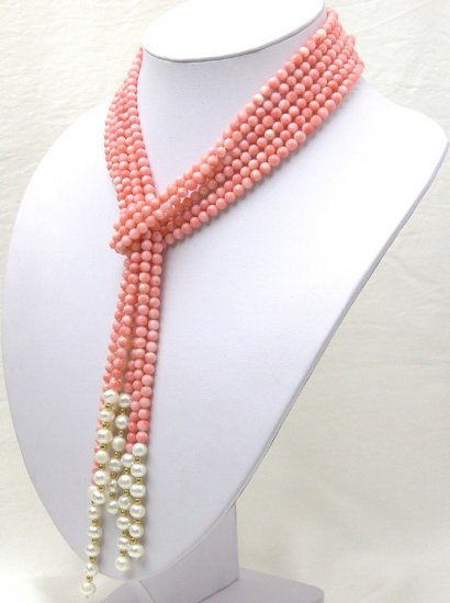 3 Strands 5mm Pink Coral And White Pearl Necklace