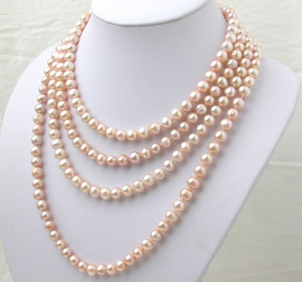 80'' Super Long Pink Freshwater Pearl Necklace