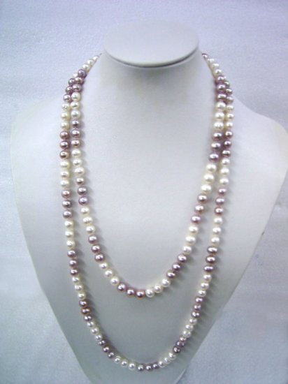 Amazing 45'' Long Purple & White Pearl Necklace