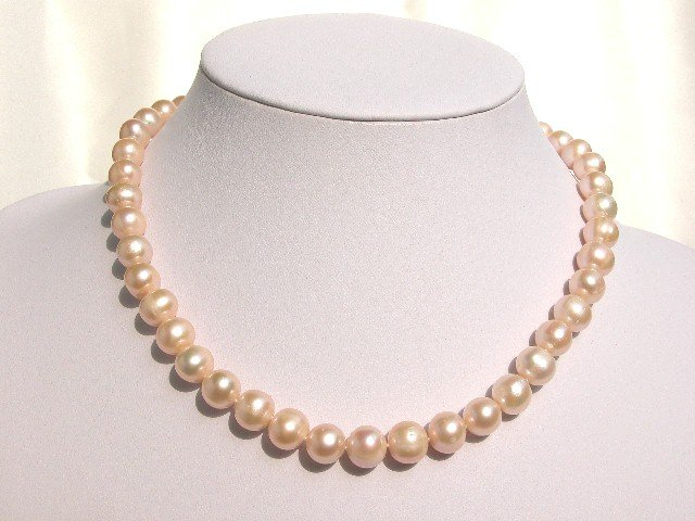 BEAUTIFUL 9.5-10.5MM BIG NATURAL PINK FW PEARL NECKLACE