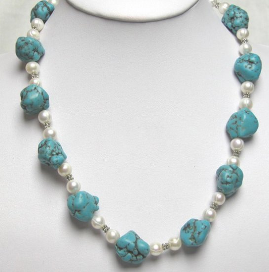 Big baroque turquoise freshwater pearl necklace