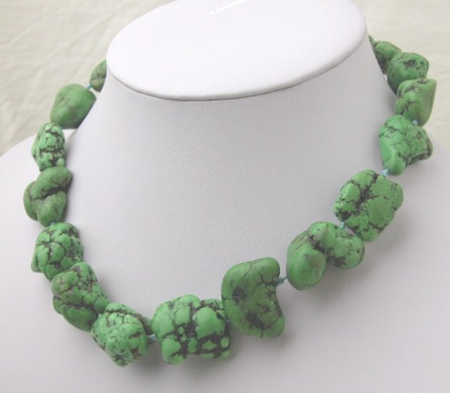 Baroque Green Turquoise Necklace Moonlight clasp