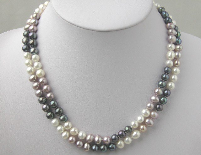 Beautiful 2 Strands 7-8mm Multicolored FW Pearl Necklace