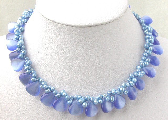 Beautiful 2 Strands Blue FW Pearl & Blue Opal Necklace