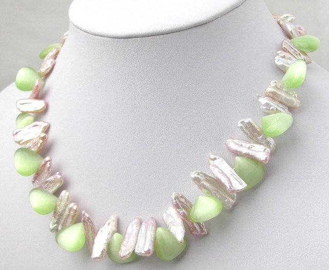 Beautiful Pink Biwa Pearl And Green Opal Necklace