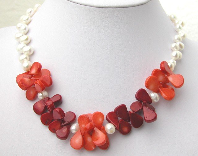 Fashionable White FW Pearl & Red Coral Necklace