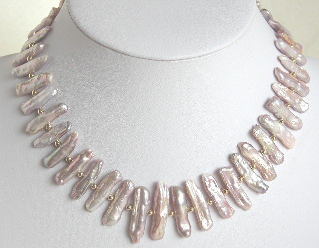 High Quality Biwa Pearl Necklace Lovely Shining Clasp