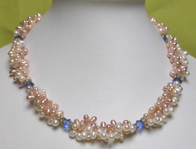 MULTICOLOR PEARL NEKCLACE with BLUE CRYSTAL separate