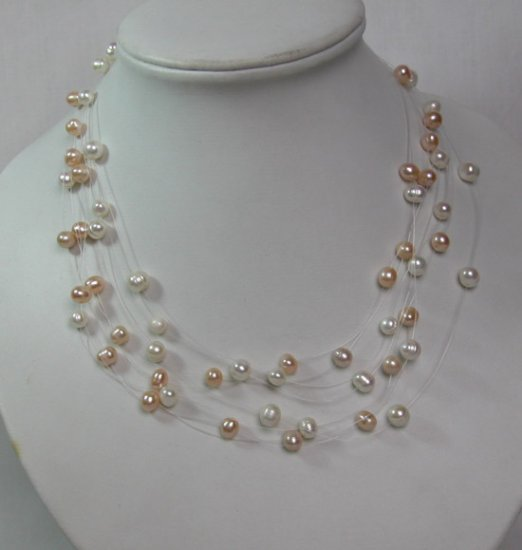 NATURAL PINK & WHITE FRESHWATER PEARLS NECKLACE