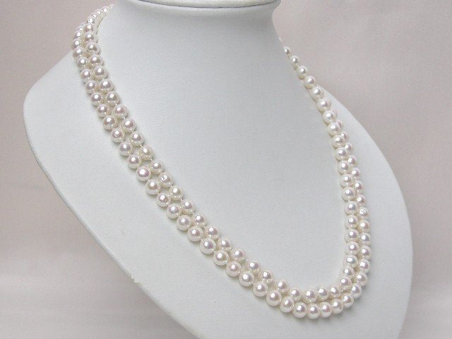 STRANDS 7-8MM NATURAL WHITE NECKLACE WITH S925 Clasp