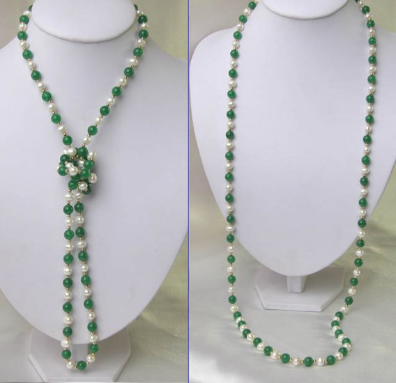 SUPER LONG GREEN JADE WITH PEARL NECKLACE 40 INCH