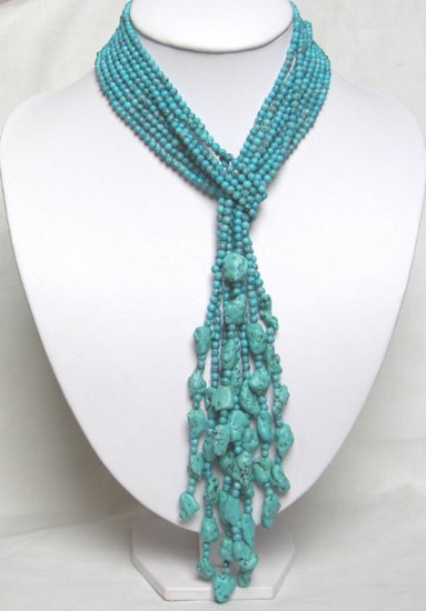SUPER LONG NOBLEST 4 ROWS TURQUOISE Necklace