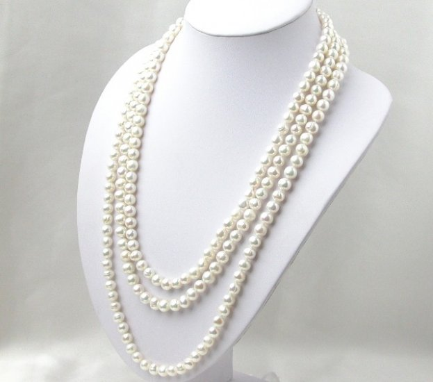 Super Long 80'' 8mm White Freshwater Pearl Necklace