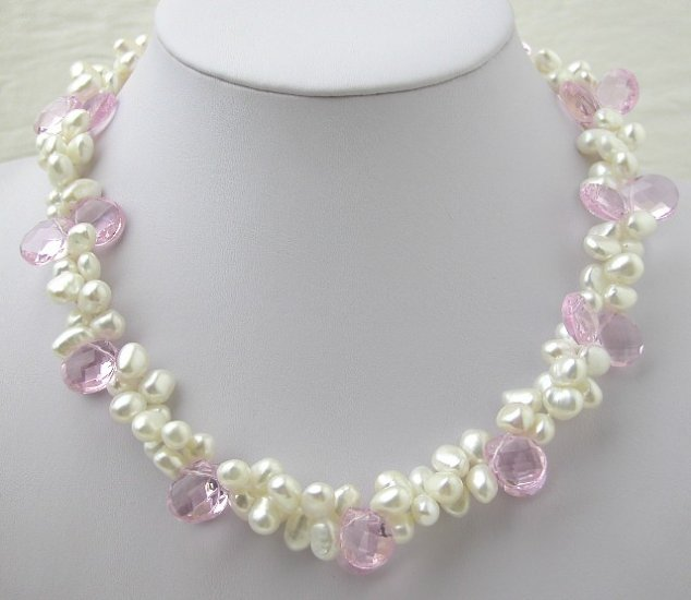 White Freshwater Cultured Pearl & Pink Crystal Necklace