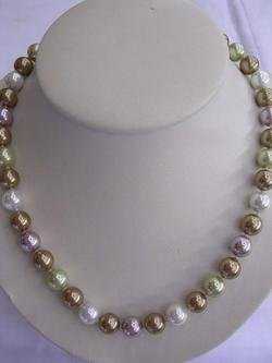 12mm RARE 3-color Tahitian Sea Shell Pearl Necklace