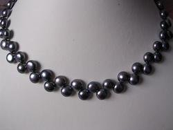 2 row super Fresh water black pearl necklace