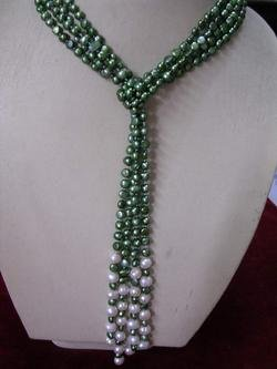 2-strand Green fresh water pearls necklace