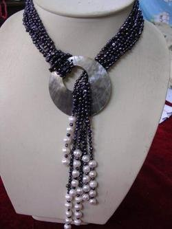 45'' 6-strand black pearl necklace with nice shell clasp