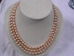 Nice 3-strand pink fresh water pearl necklace