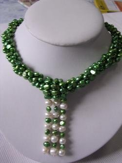 Rare 3-strand green fresh water necklace