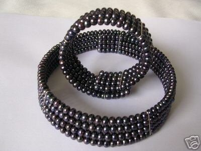Super Black Pearl Choker Necklace With Match Bracelet