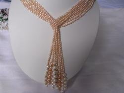 beautiful 8-strand pink pearl necklace & golden ball
