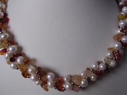 beautiful agate with pearl necklace