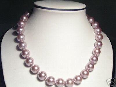 12mm Lustrous Purple Seashell Pearls Necklace