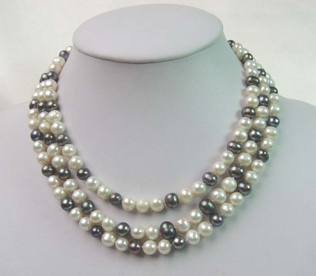 52'' long white & black pearl necklace