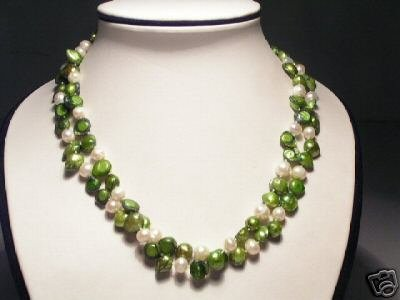Baroque Real 2-Srd Green Pearls Necklace