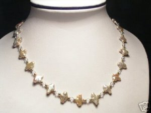 Baroque Real Pink Pearls&Crystal Necklace