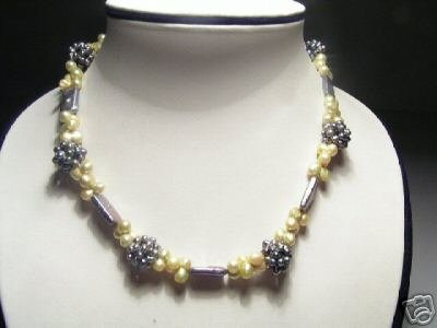 Baroque Real Yellow&Slate FW Pearls Necklace