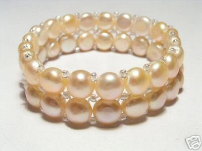 Beautiful 2-Row Pink FW Pearls Stretch Bracelet