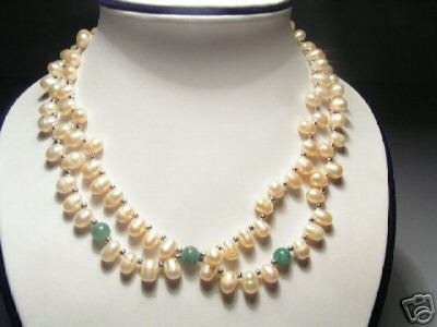 Charming 2-Srd Pink FW Pearls&Jade Necklace
