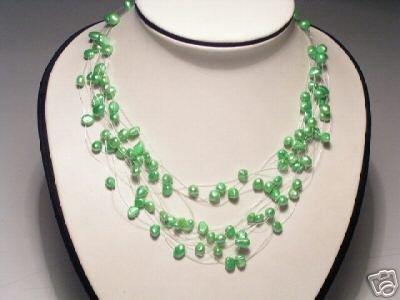 Charming Real 15-Srd Green FW Pearls Neckalce