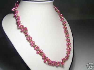 Chic 3-Srd Peachblow FW Pearls&Crystal Necklace