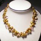 Elegant 2-Srd Golden FW Pearls&Crystal Necklace