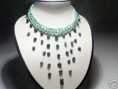 Elegant 3-Row Green FW Pearls&Amethyst Necklace
