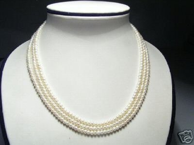 Elegant Real 3-Srd White Freshwater Pearls Necklace