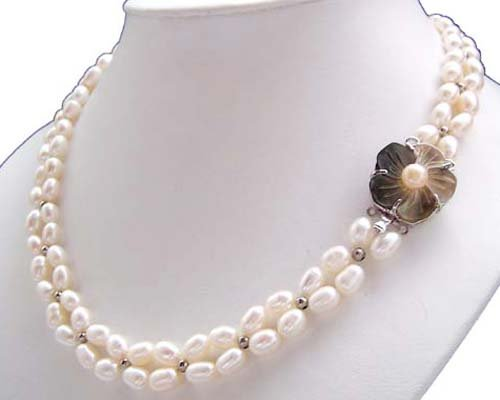 Junoesque 2rows white rice freshwater pearl necklace