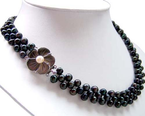 Junoesque 3rows crude black freshwater pearl necklace