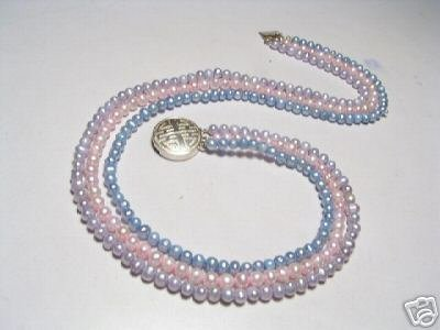 Lovely 3-Srd Real Multicolor FW Pearls Necklace925s