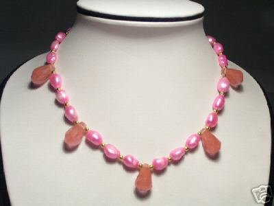 Lovely Real Pink FW Pearls&Crystal Necklace
