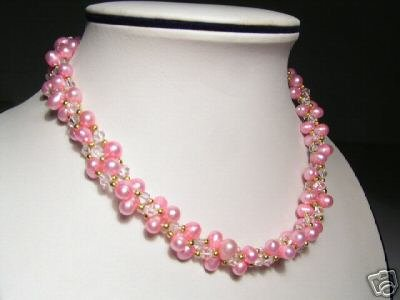 Luster 3-Srd Pink FW Pearls&Crystal Necklace