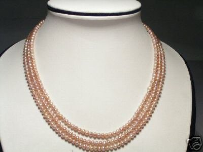 Luster 3-Srd Real Pink FW Pearls Necklace