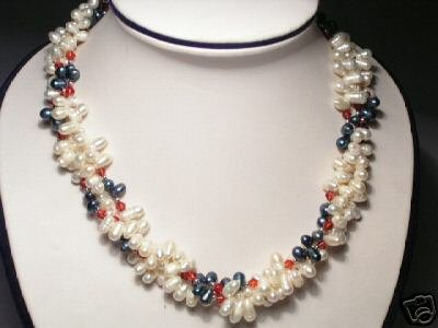 Noble 3-Srd White&Gray FW Pearls&Crystal Necklace