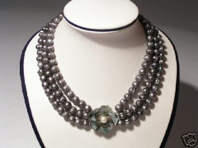 Noblest 3-Srd Gray FW Pearls&Floral Necklace925S