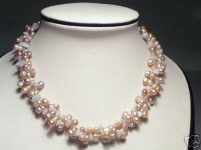 Rare Baroque 2-Srd Purple FW Pearls&Stone Necklace