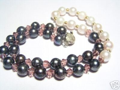 Smooth White&Slate South-Sea Pearls&Crystal Necklace