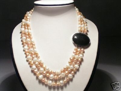 Stunning 3-Srd White&Purple FW Pearls&Onyx Necklace